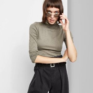 Wild Fable Army Green Ribbed Turtleneck